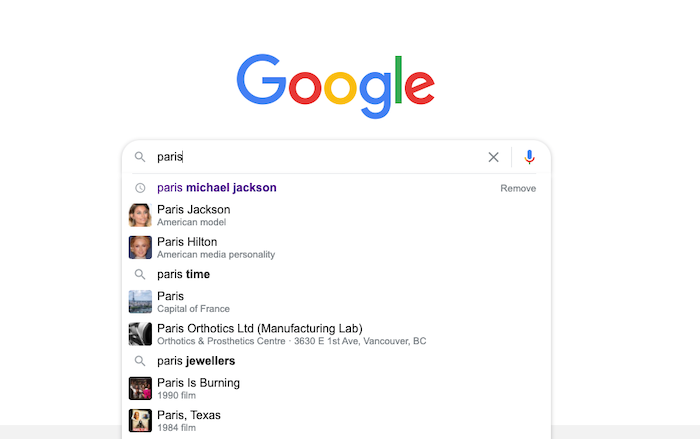 google search for paris showing entity based seo