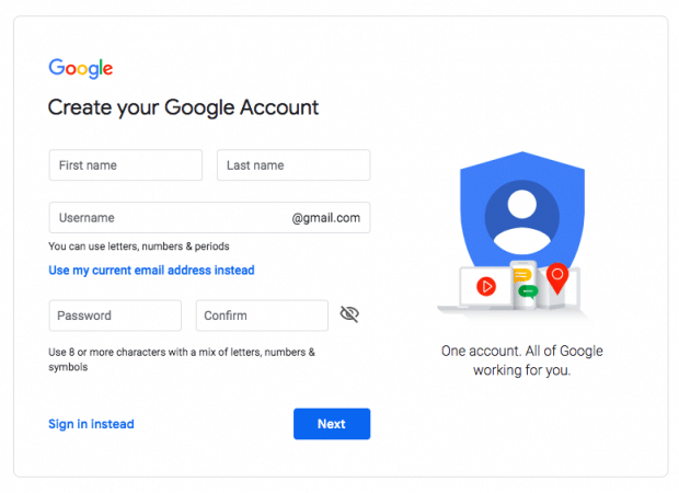 create Google account page