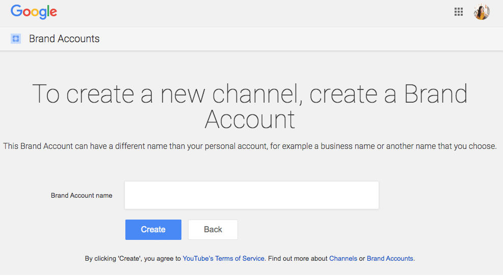 create a Brand Account