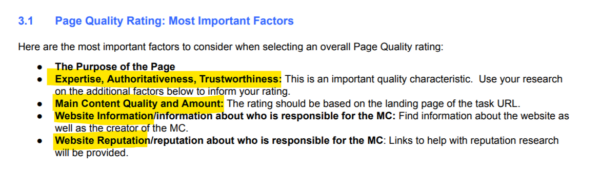 """A screenshot of Google's Search Quality Evaluator Guidelines document, showing the """"Most Important Factors"""""""