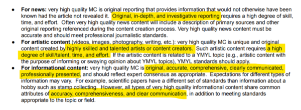A screenshot of Google's Search Quality Evaluator Guidelines document, showing guidelines for different content types