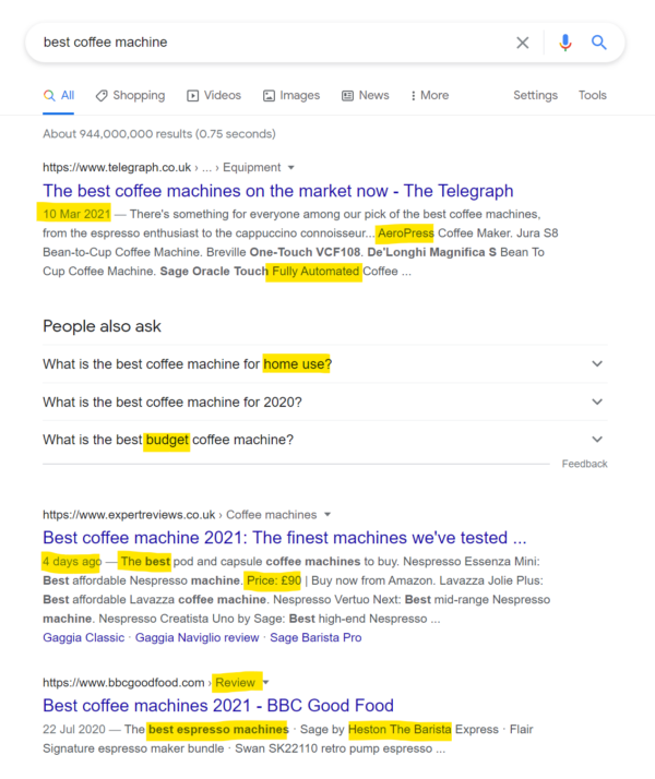 A screenshot of a Google search result for 'best coffee machine'