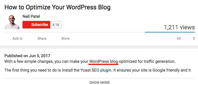 keywords early in youtube description
