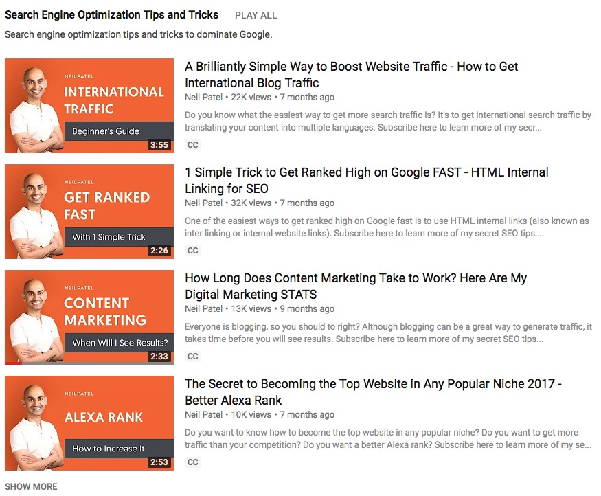 search engine videos neil patel youtube for marketers