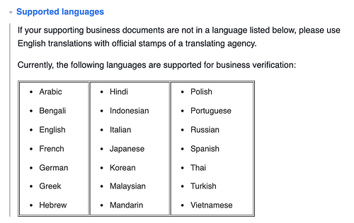 the languages facebook supports for verified badges