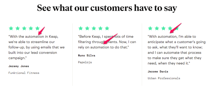 Testimonial Examples Used on Landing Pages - Keap