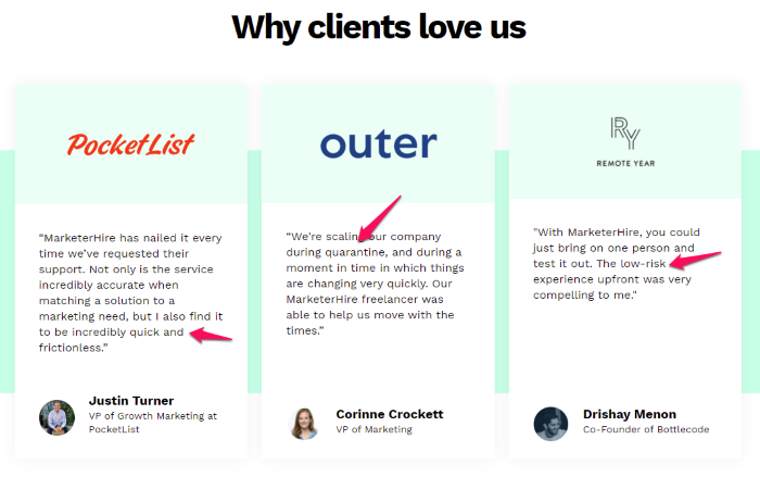 Testimonial Examples Used on Landing Pages - MarketHire