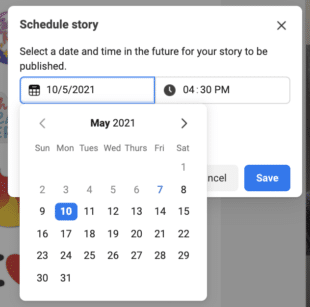 Picking a date and time to schedule Instagram Story