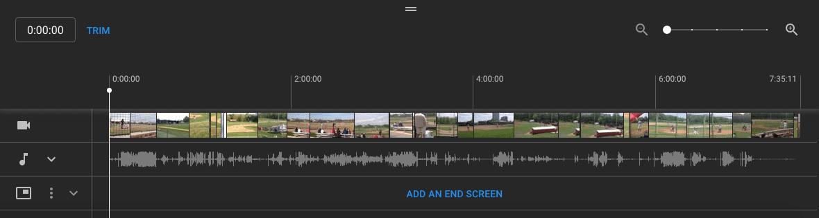 YouTube Studio Trim Video timeline panel