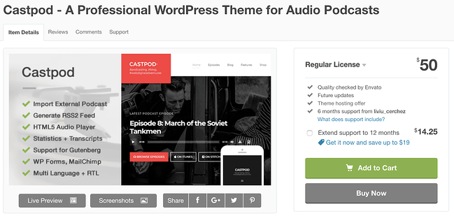 castpod wordpress theme for podcasts download page