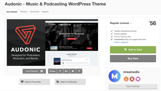 audonic  wordpress theme for podcasts download page
