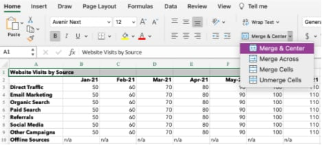 How to center data in excel