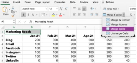 How to merge two cells in excel