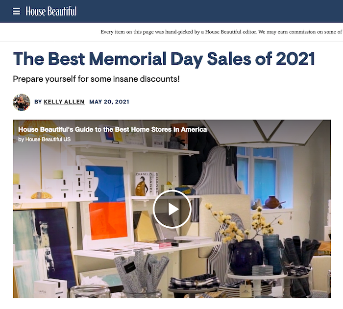 get your store featured in memorial day sales roundups