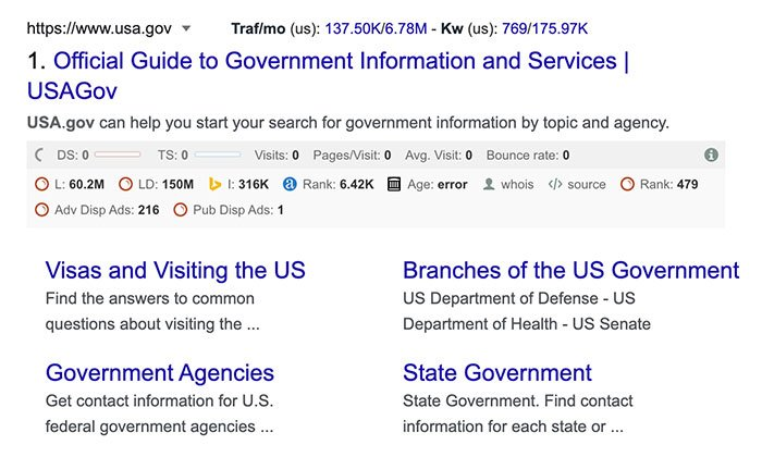 Different Types of Top-level domains - .gov domain example