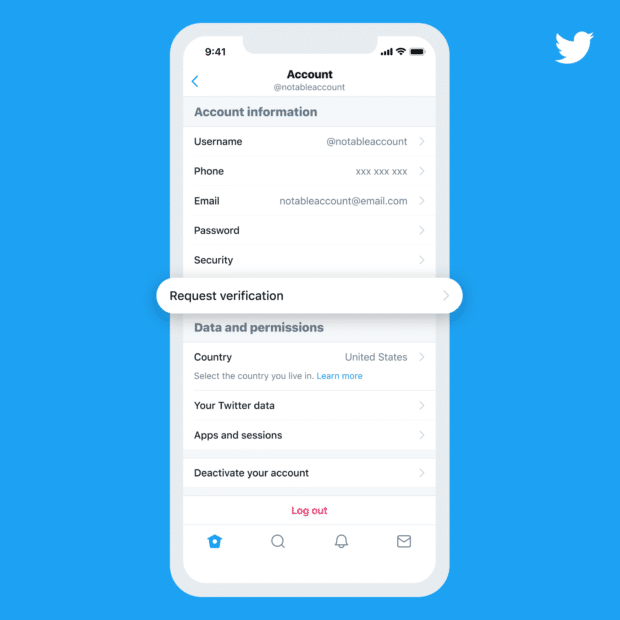 """Twitter Accounts setting screen with highlighted """"Request verification"""" option"""