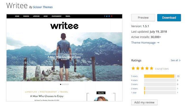 writee wordpress theme for bloggers