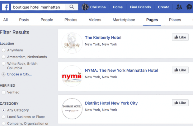 """Screenshot of Facebook search results for """"boutique hotel manhattan"""""""