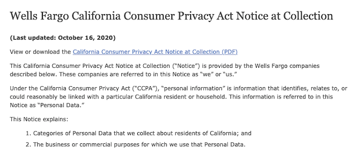Privacy Policy Generators - privacy policy wells fargo