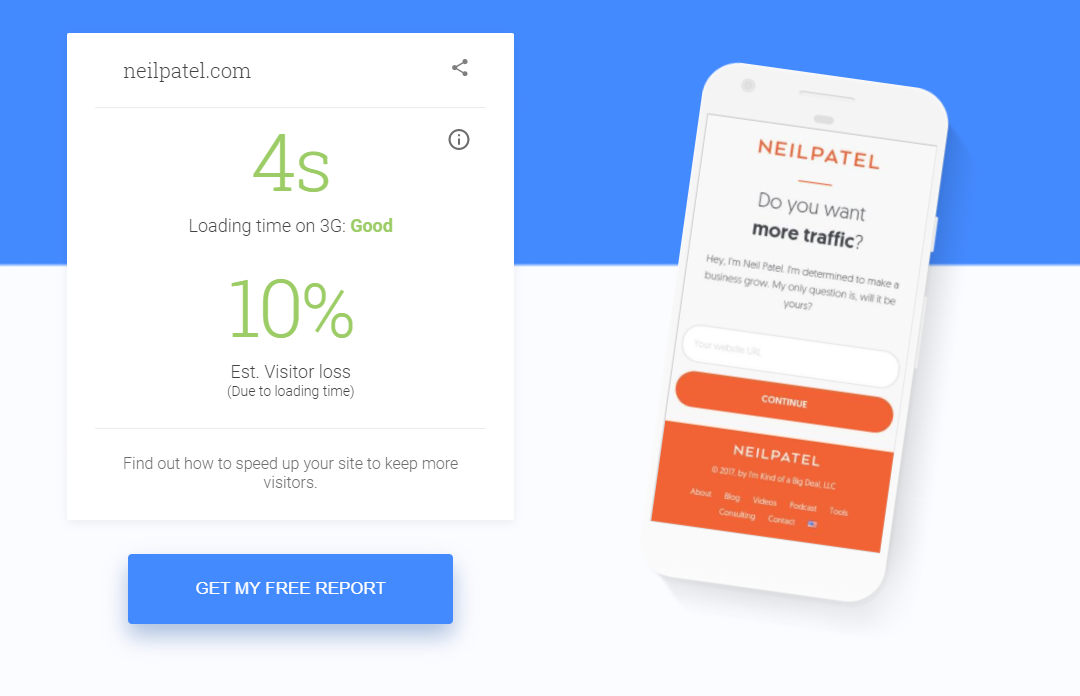 mobile site speed test report