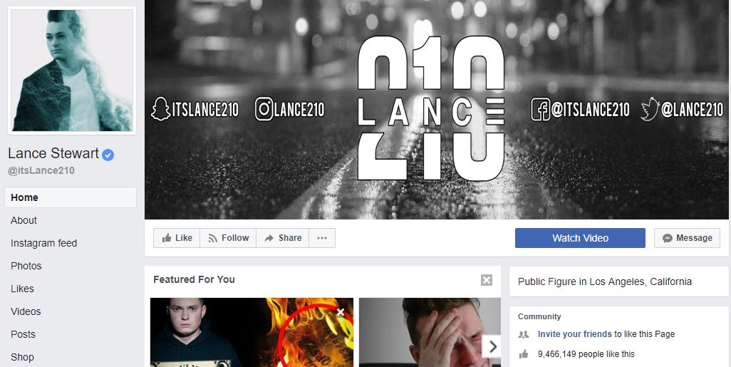 influencer marketing - lance stewart facebook