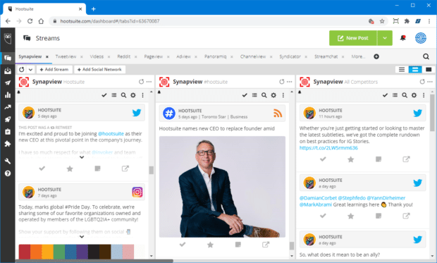 Synapview social media competitve analysis in the Hootsuite dashboard