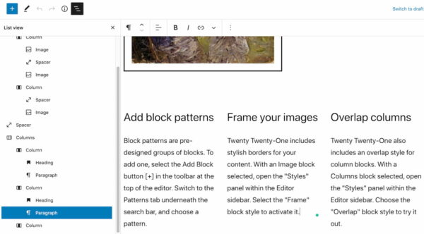 WordPress 5.8: The new list view in your post editor