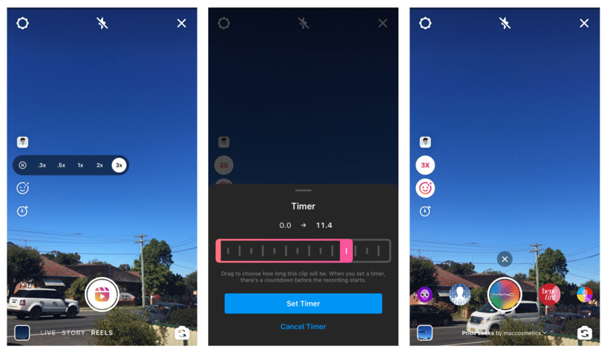 Instagram Reels Speed Effects and Timer features