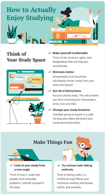 infographic on how to enjoy studying