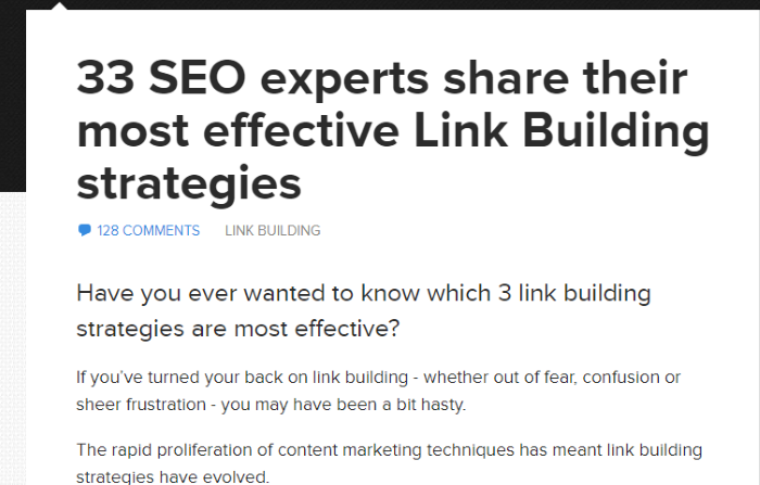 link building guide - pillar post example