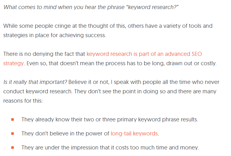how google works example of good content