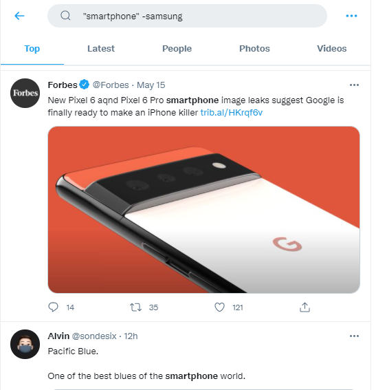 twitter advanced search - samsung example