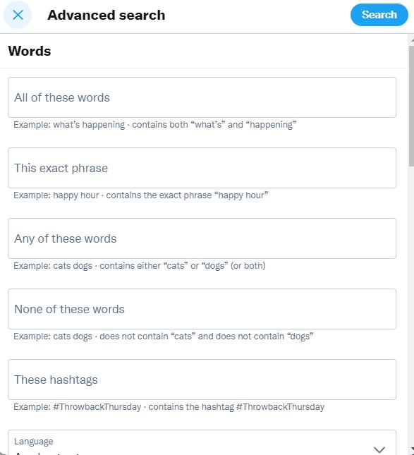 Twitter advanced search screen 1